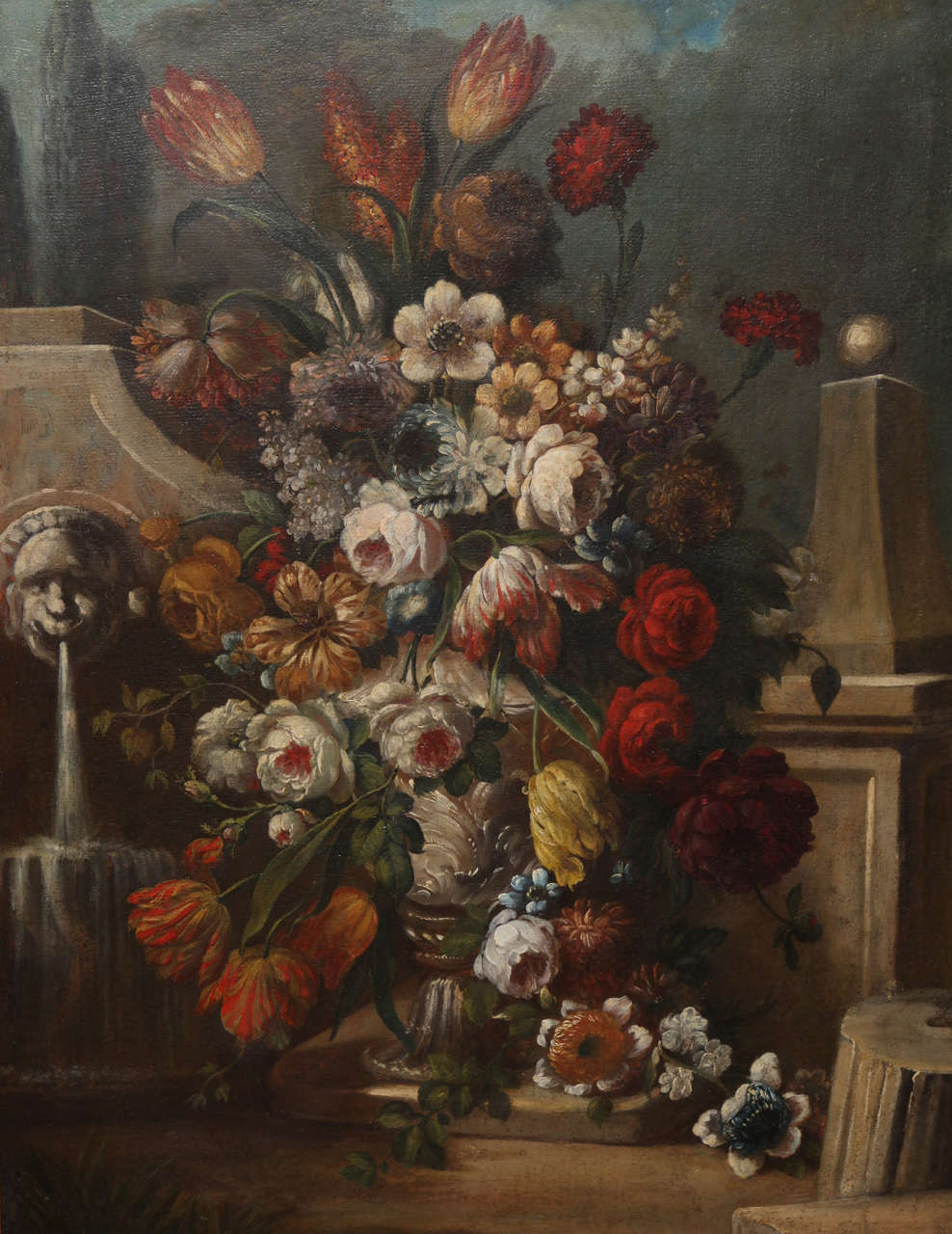 Rococo Pair of Still Life Paintings of Flowers, French, 18th Century, Original Frames For Sale
