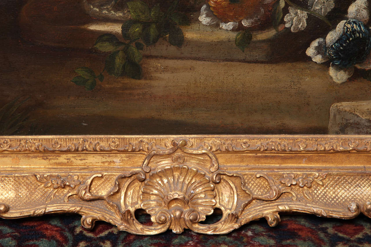 Pair of Still Life Paintings of Flowers, French, 18th Century, Original Frames In Good Condition For Sale In New York, NY