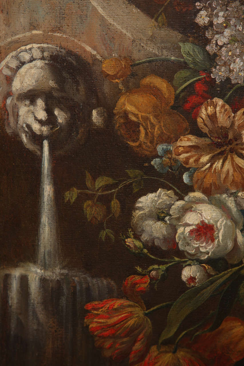 Canvas Pair of Still Life Paintings of Flowers, French, 18th Century, Original Frames For Sale