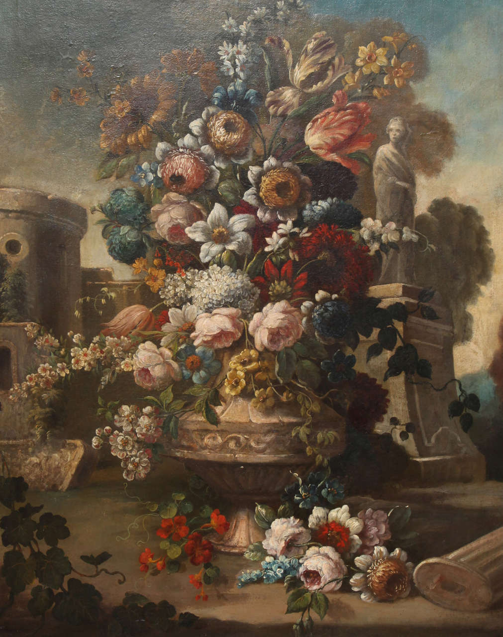 Pair of Still Life Paintings of Flowers, French, 18th Century, Original Frames For Sale 2