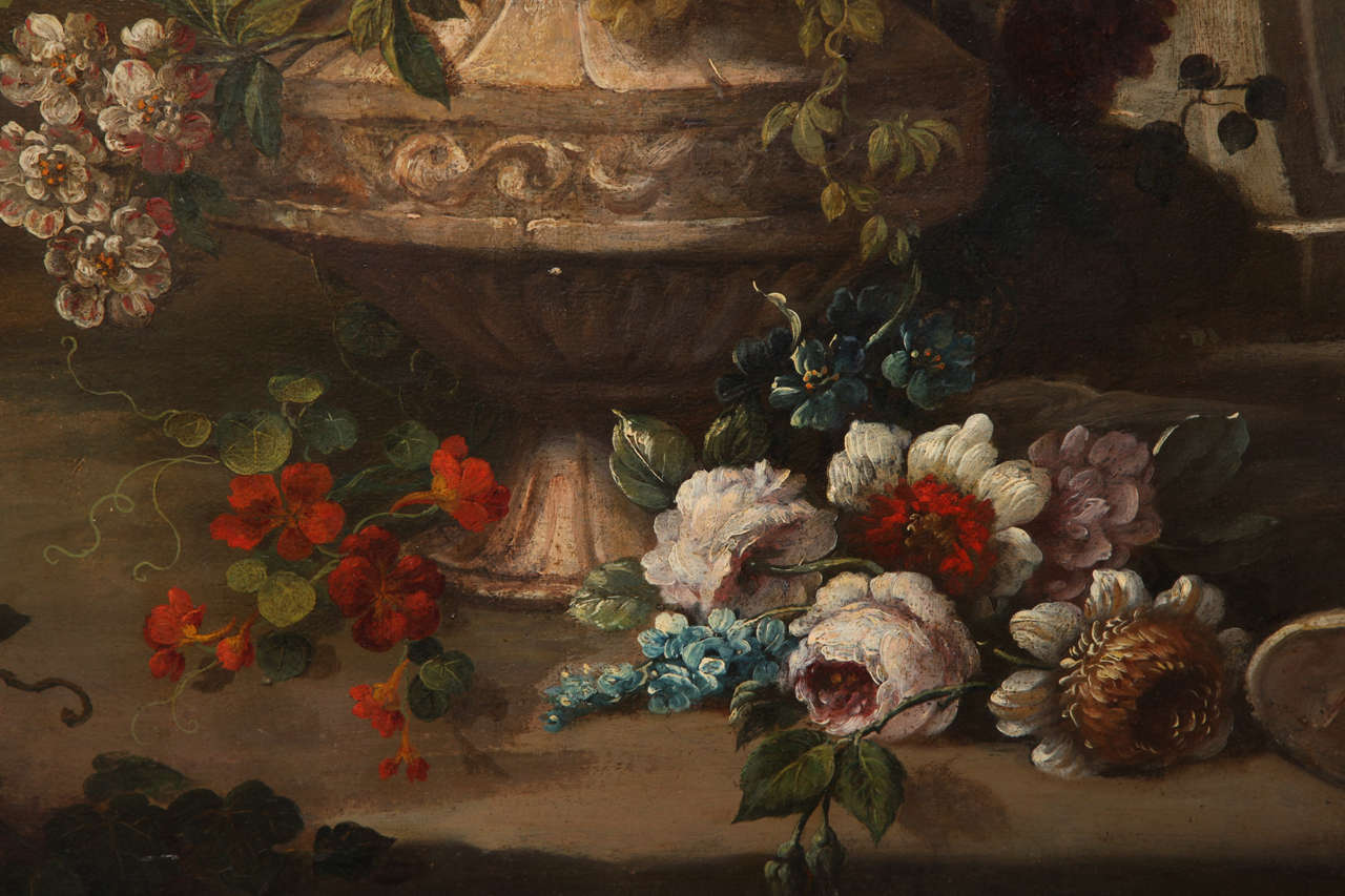 Pair of Still Life Paintings of Flowers, French, 18th Century, Original Frames For Sale 3