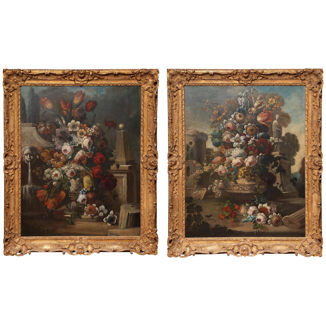 Pair of Still Life Paintings of Flowers, French, 18th Century, Original Frames