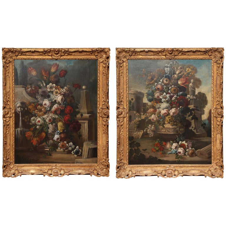 Pair of Still Life Paintings of Flowers, French, 18th Century, Original Frames For Sale