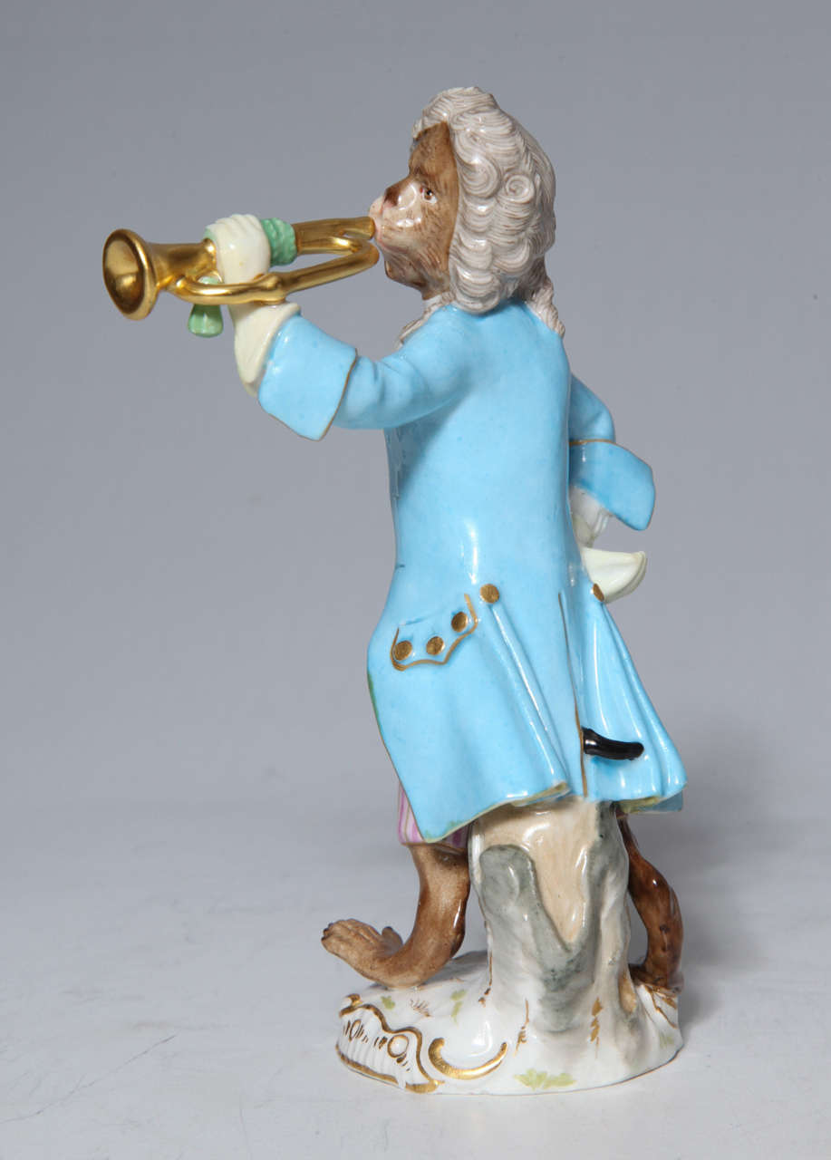 German Early Meissen Porcelain, Singerie Style Monkey Musician Figurine For Sale