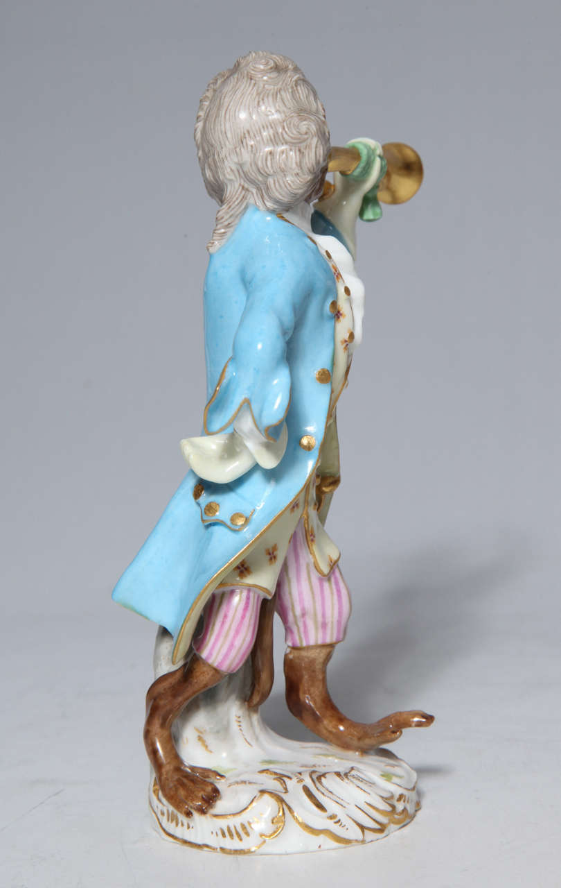 Early Meissen Porcelain, Singerie Style Monkey Musician Figurine For Sale 1