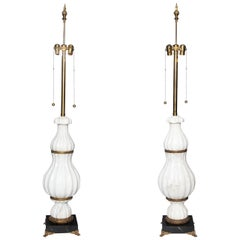 A pair of White Marble and Bronze Art Deco Lamps Attributed to E. F. Caldwell