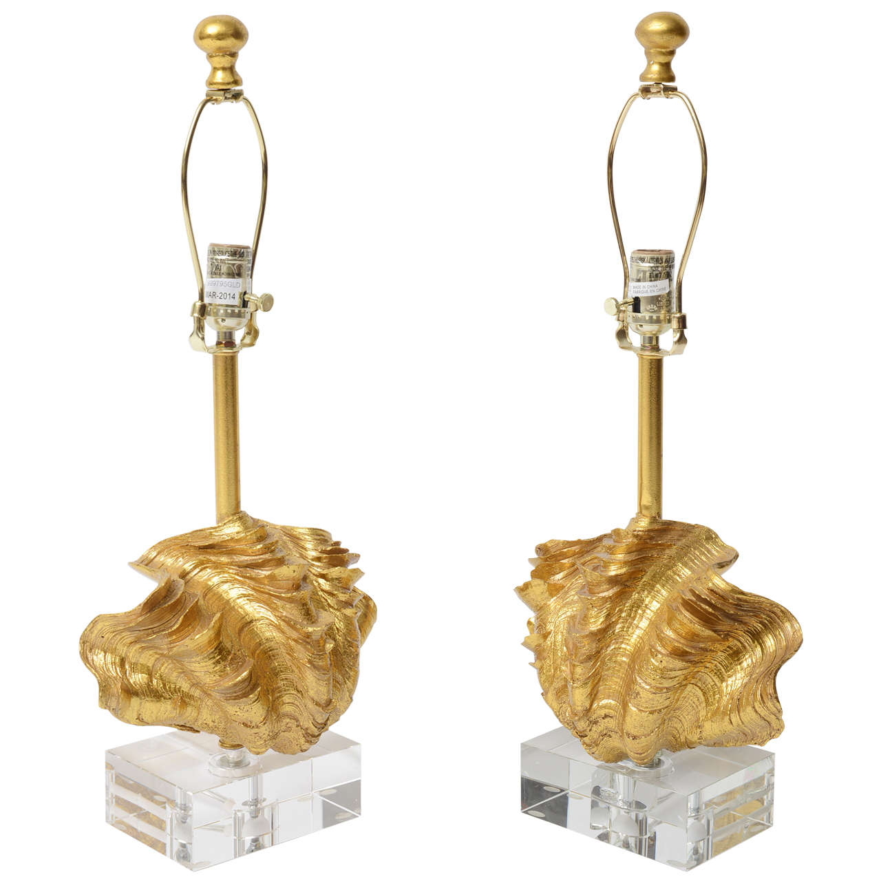 Lucite and Gold Leaf Shell lamps with shades.  USA 20th C
