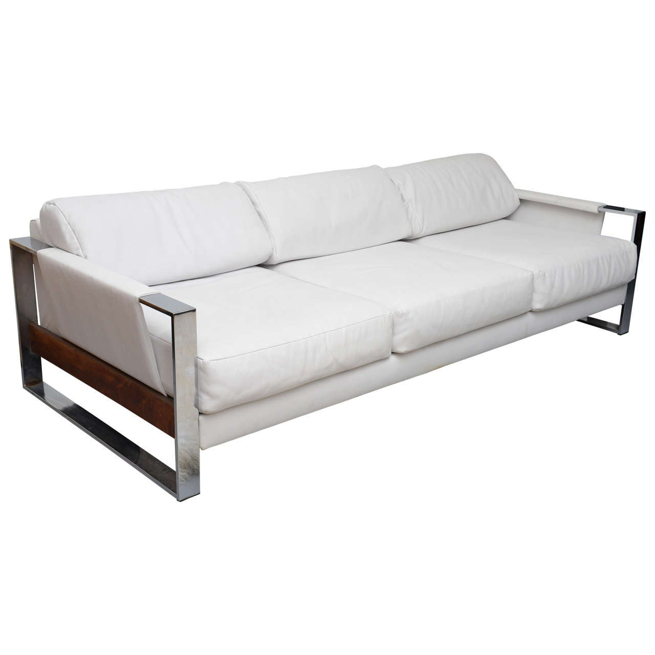 Milo Baughman Chrome Vinyl And Rosewood Sofa 1960s Usa For