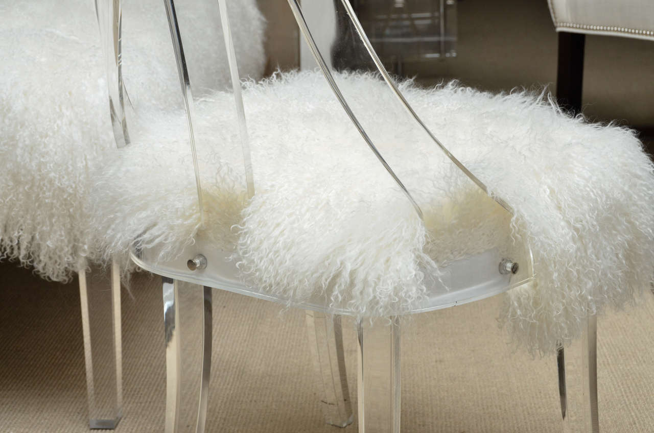 Lucite upholstered rolling swivel vanity chair is no longer available - Vintage Lucite Desk Chair Upholstered In Mongolian Lamb At