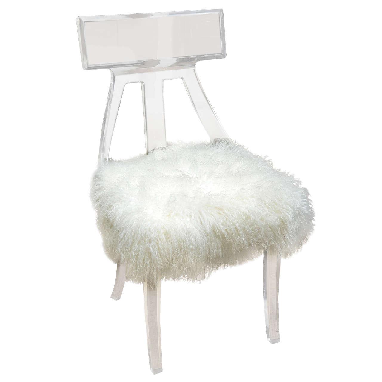 Vintage Lucite Desk Chair Upholstered in Mongolian Lamb at 1stdibs