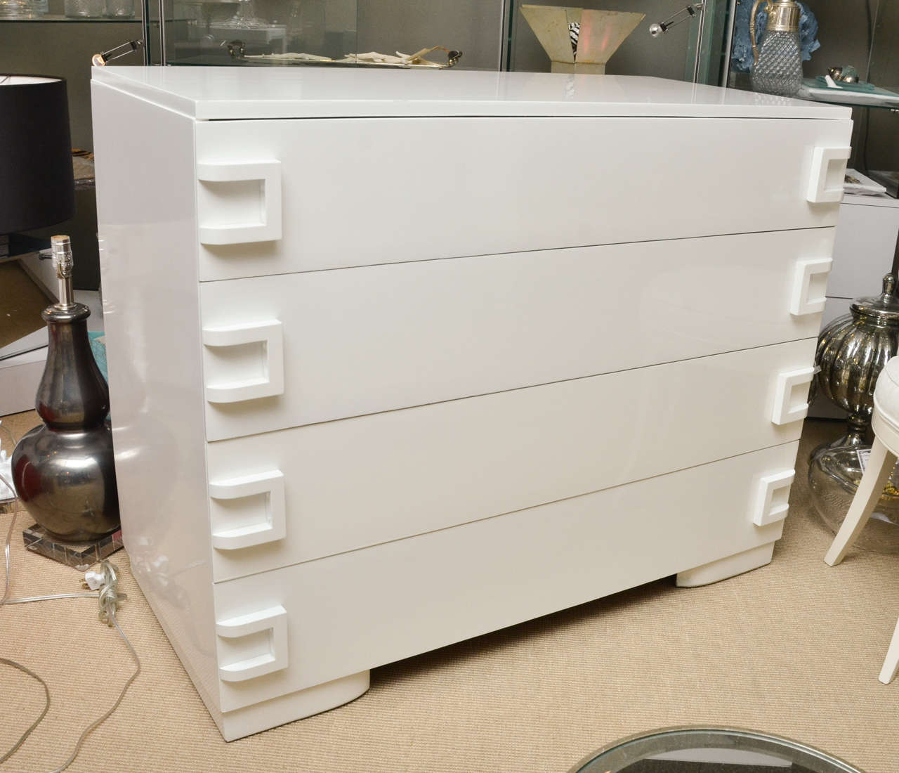 white lacquer 4 drawer commode at 1stdibs. Black Bedroom Furniture Sets. Home Design Ideas
