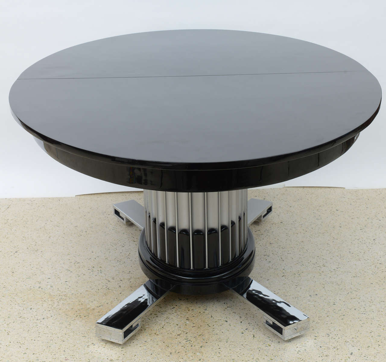 Black Lacquered Chrome And Silver Leaf Extension Dining