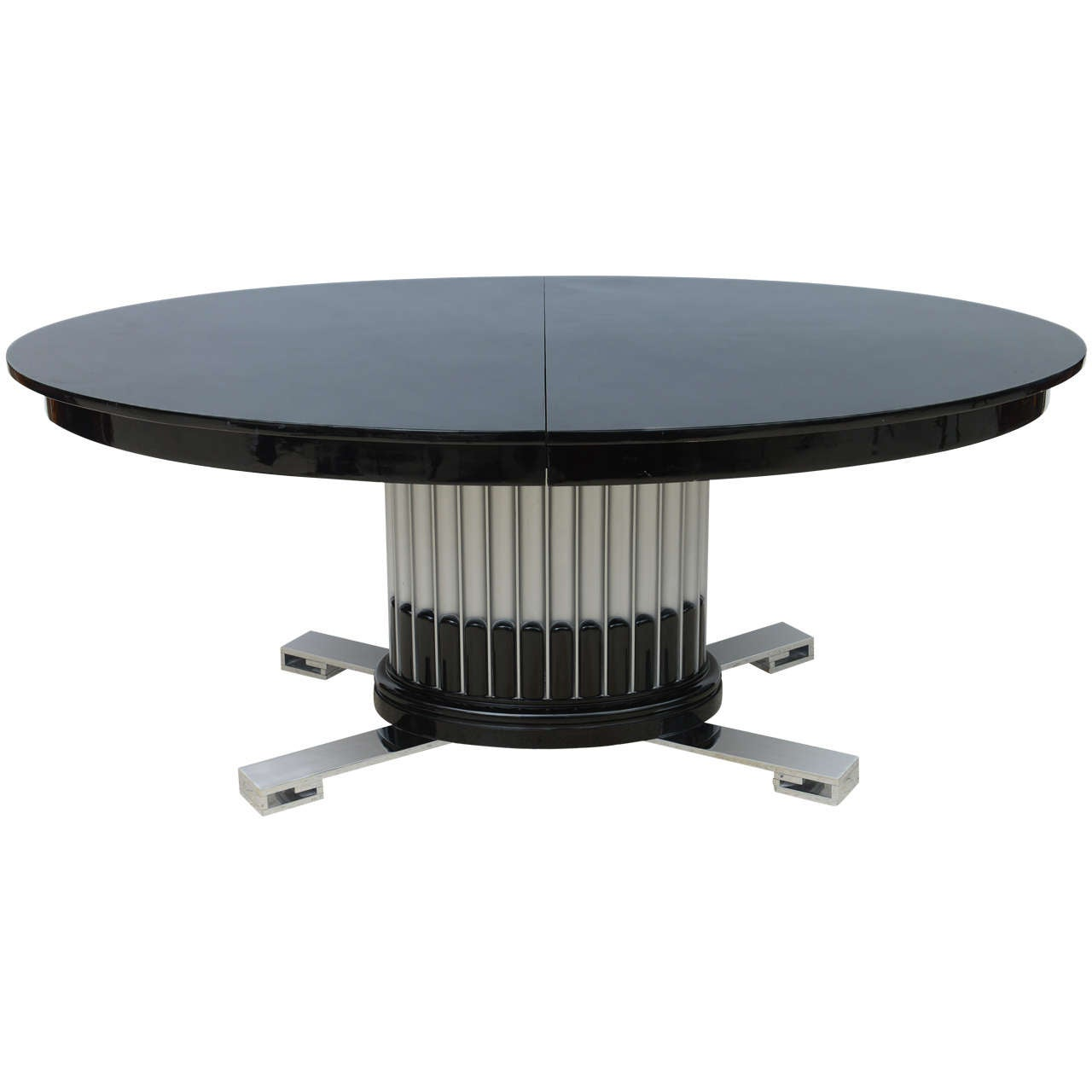 Black Lacquered, Chrome and Silver Leaf Extension Dining Table by Paul Frankl