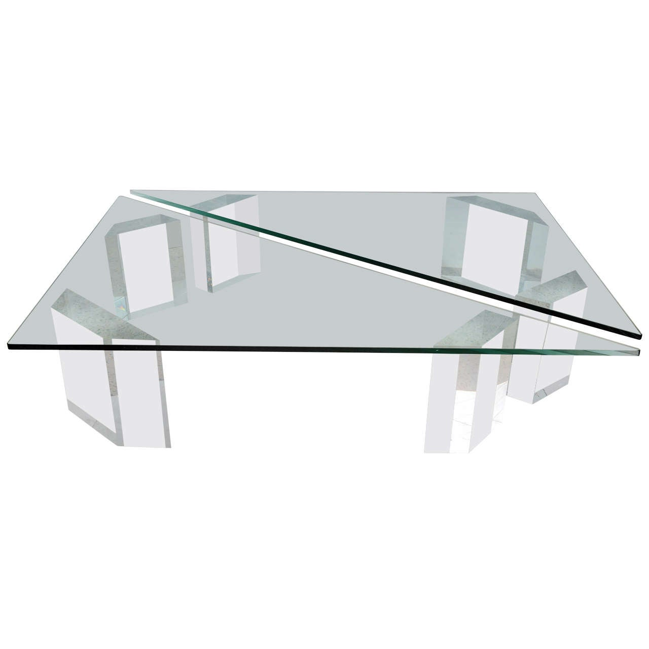 Lucite And Glass Top Coffee Table By Lion In Frost At 1stdibs
