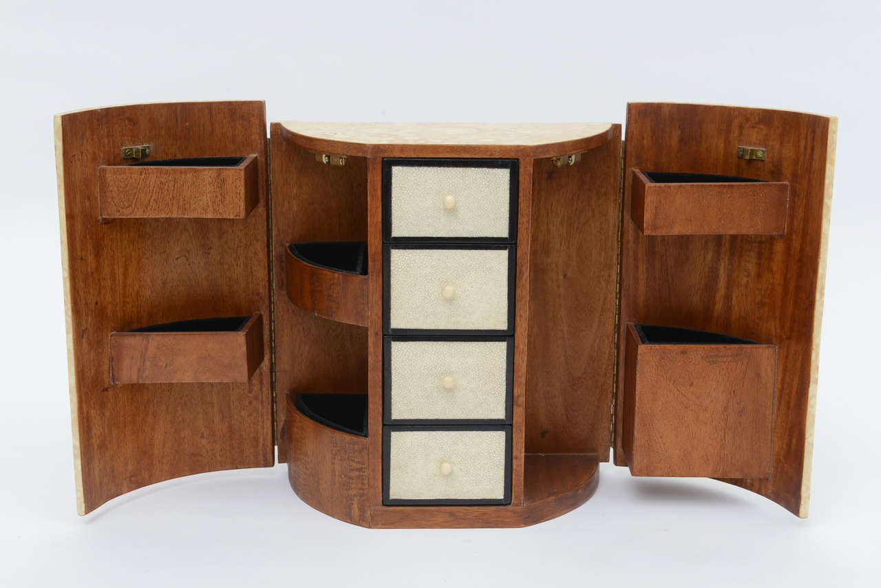 Mid-Century Modern Bone, Shagreen and Mahogany Jewelry Box or Small Cabinet by R & Y Augousti For Sale