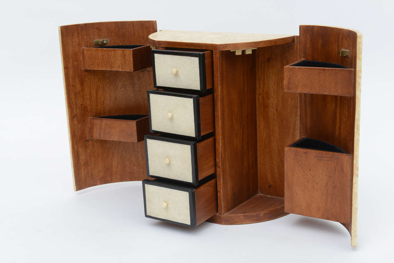 French Bone, Shagreen and Mahogany Jewelry Box or Small Cabinet by R & Y Augousti For Sale
