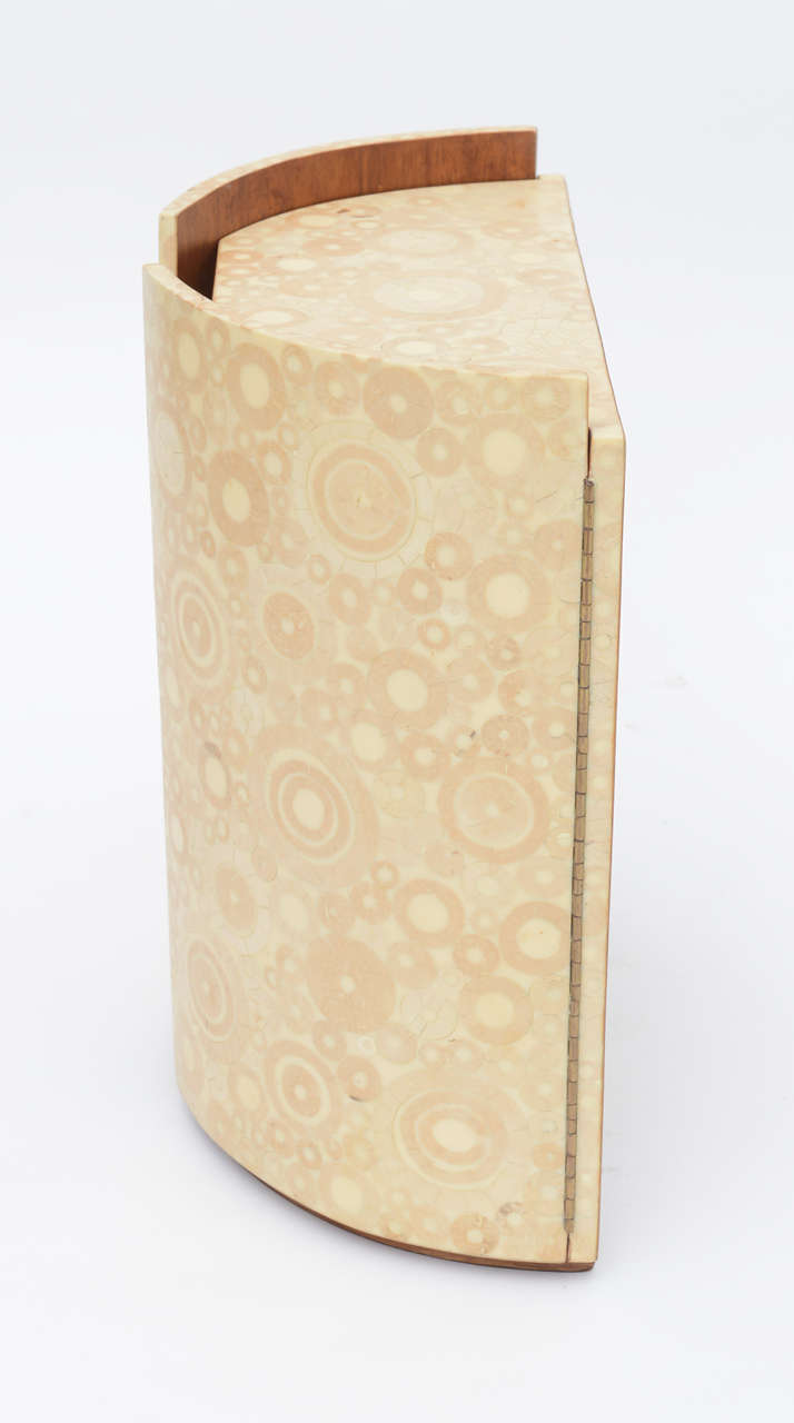 Bone, Shagreen and Mahogany Jewelry Box or Small Cabinet by R & Y Augousti In Excellent Condition For Sale In Miami, FL
