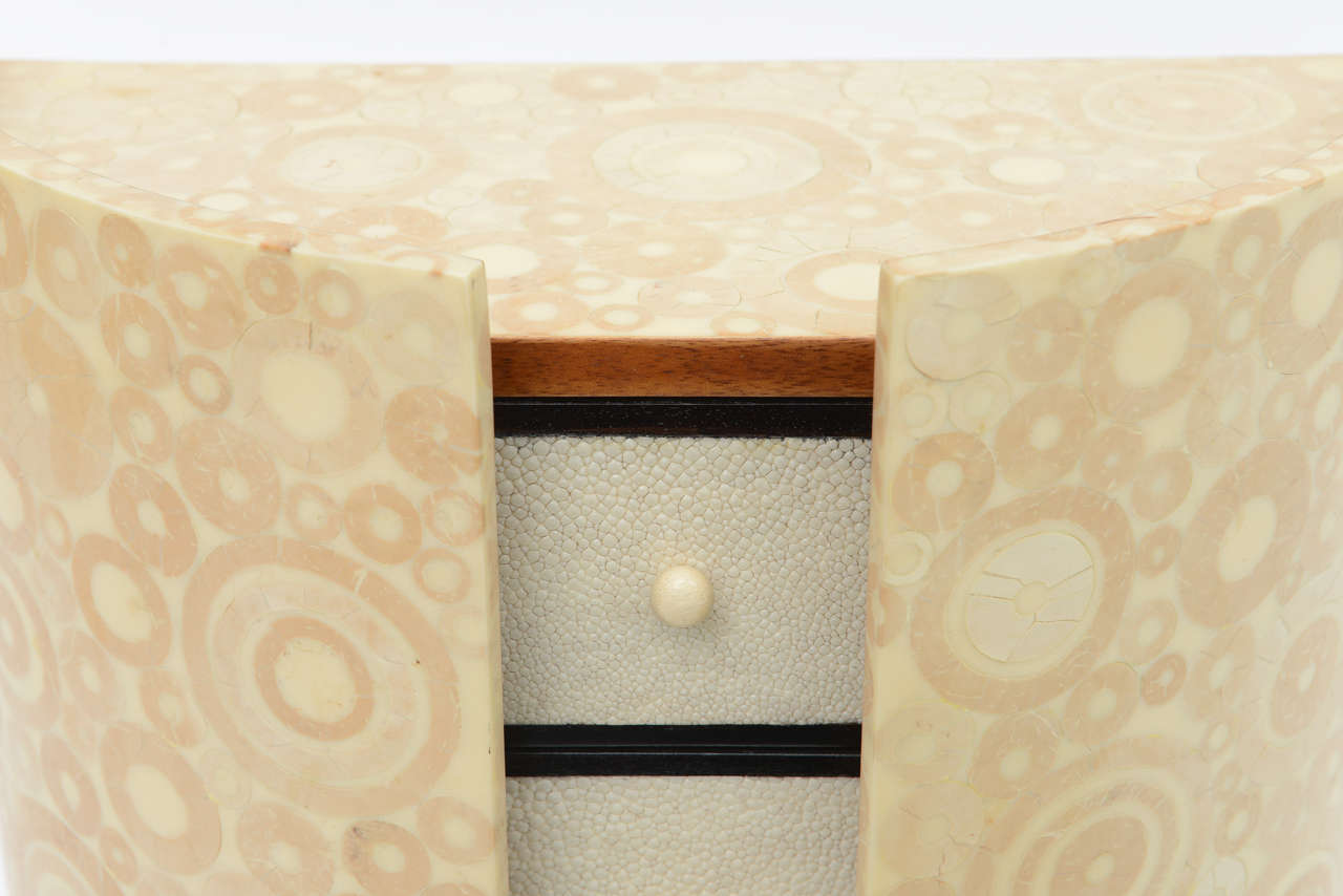 Bone, Shagreen and Mahogany Jewelry Box or Small Cabinet by R & Y Augousti For Sale 1