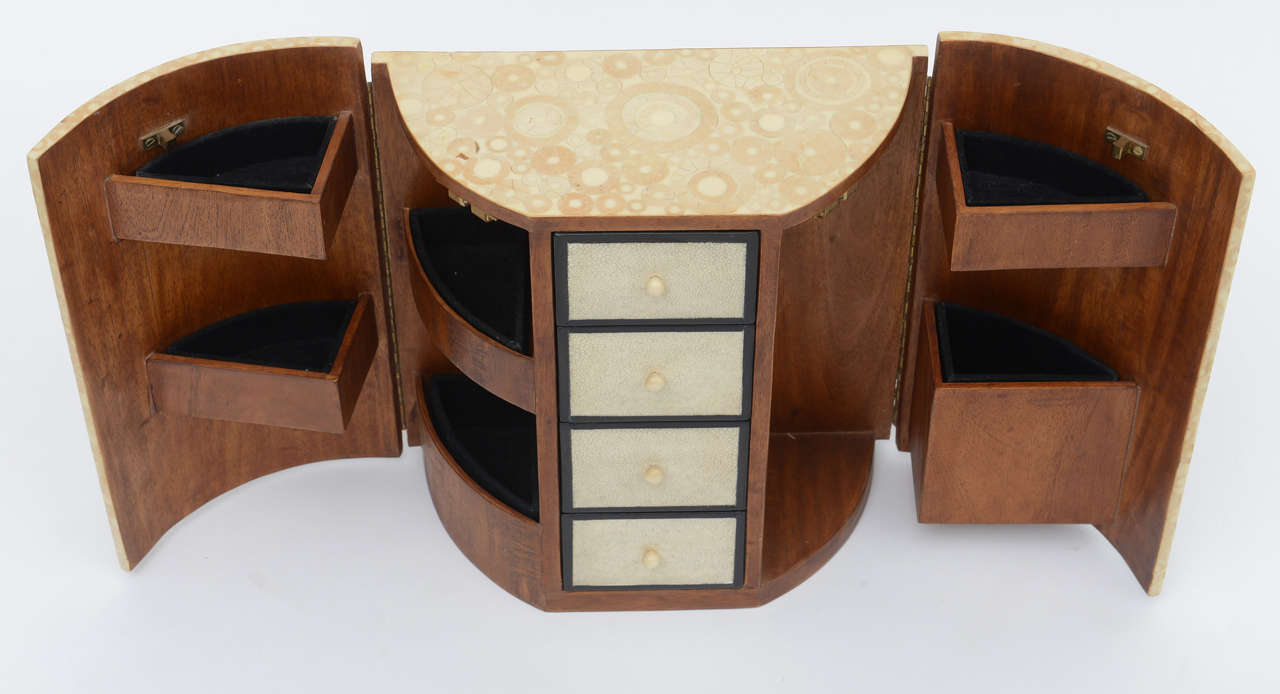 Bone, Shagreen and Mahogany Jewelry Box or Small Cabinet by R & Y Augousti For Sale 4