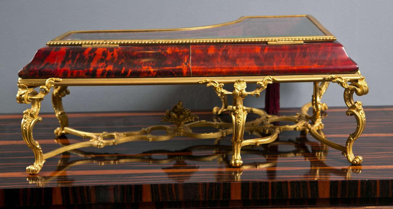 Antique Tortoise Shell Piano ShapeTable Top Vitrine For Sale 2
