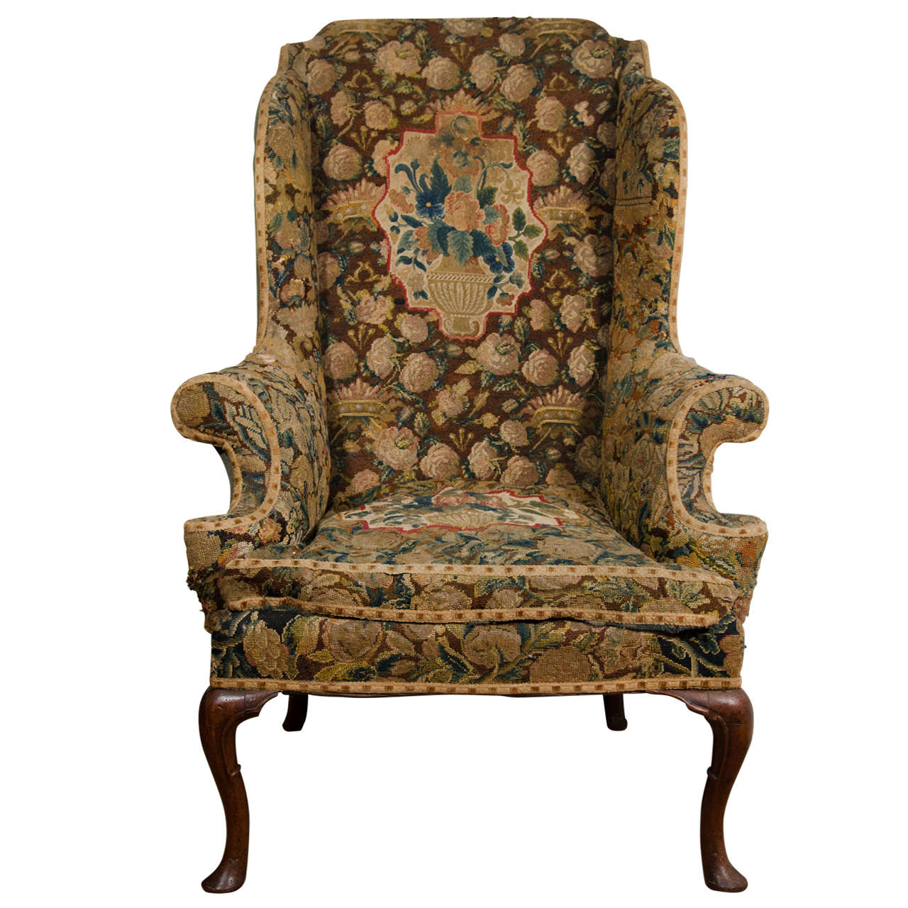 English Queen Anne Walnut Wing Chair at 1stdibs