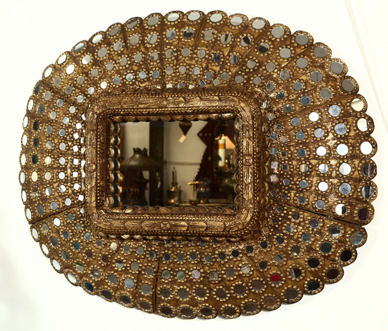 Gilt Wood Peacock Mirror 2