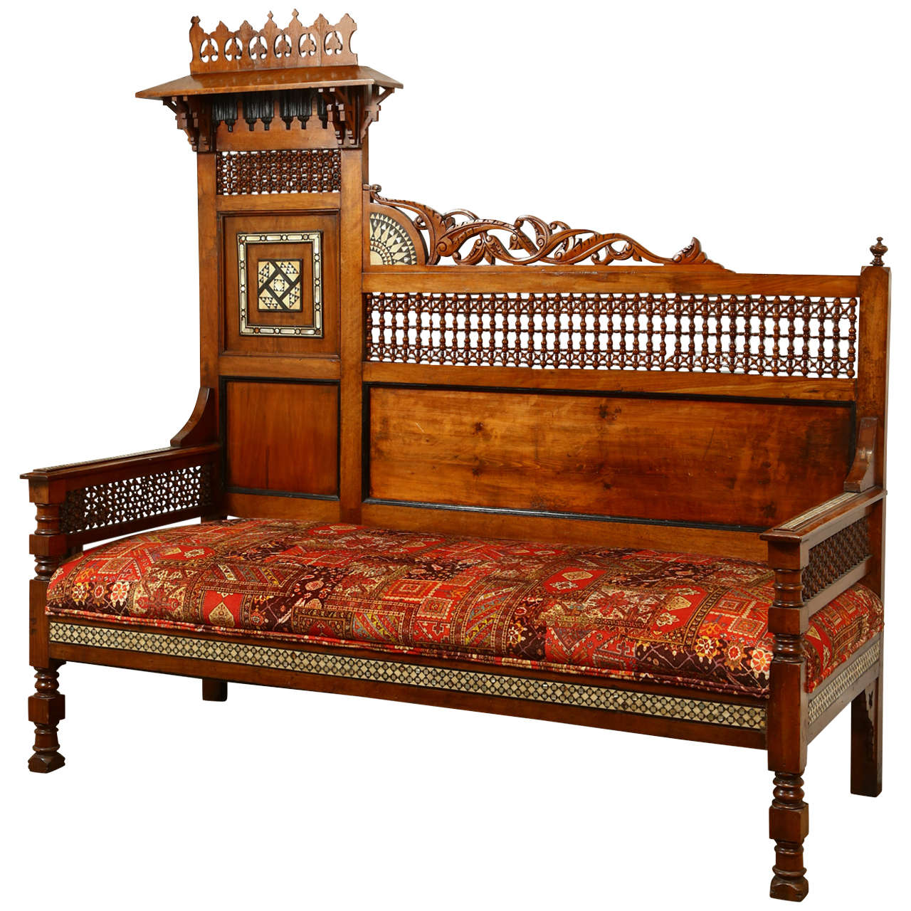 Syrian Settee With Mother Of Pearl Inlay At 1stdibs