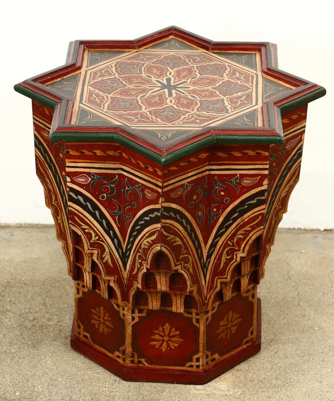 Moroccan Colorful Hand Painted And Carved Side Occasional Table With  Moorish Designs. Hispano Moresque