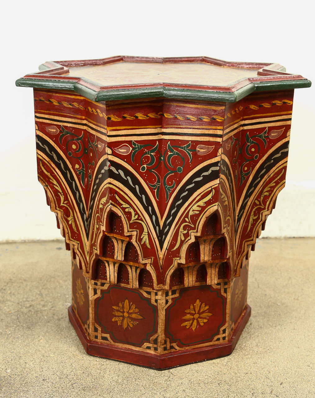 Moroccan hand painted side table maroon color at 1stdibs for Moroccan hand painted furniture