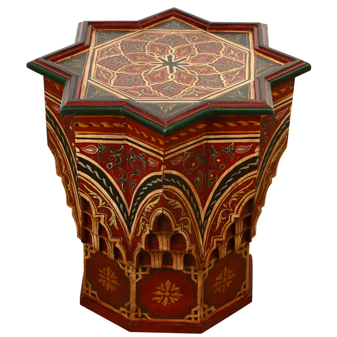 Moroccan Hand Painted Side Table Maroon Color at 1stdibs