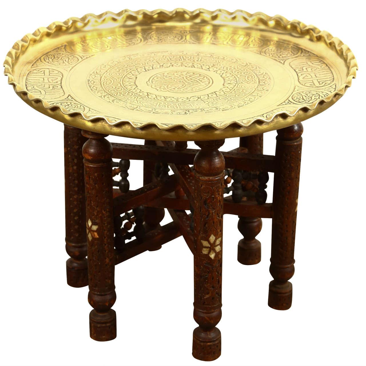 Moorish Brass Tray Side Table 1