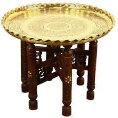 Moroccan Brass Tray Side Table