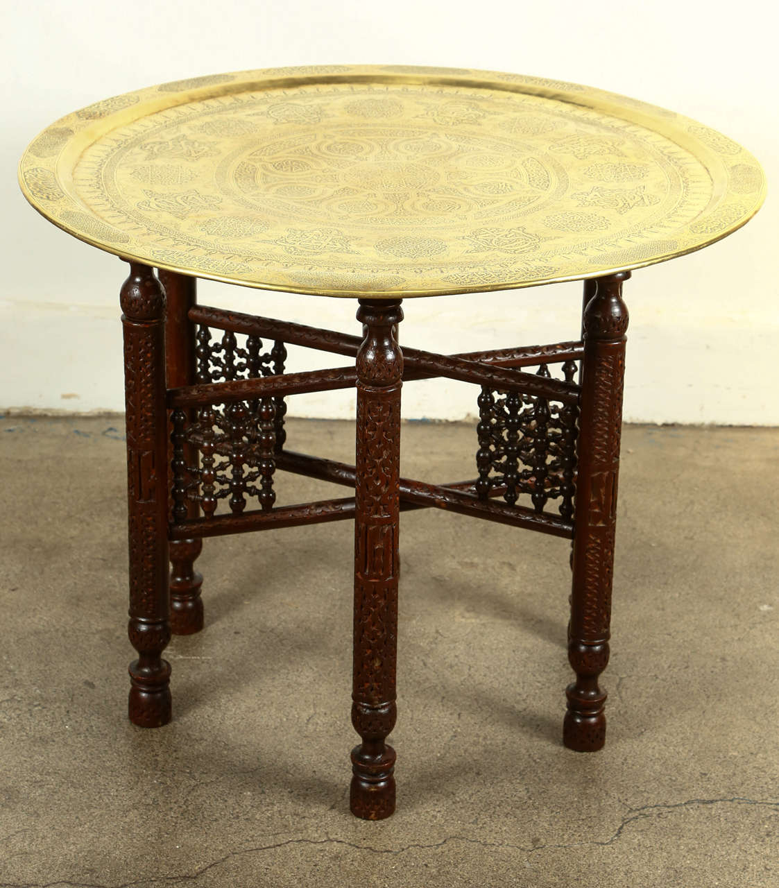 Antique Arabic Brass Tray Side Table at 1stdibs