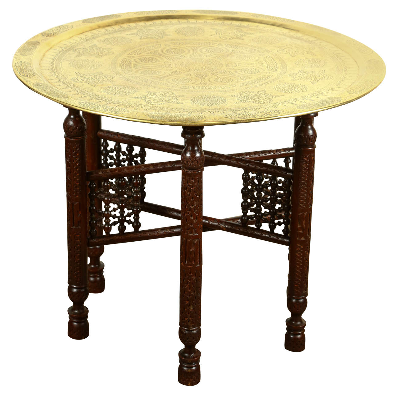 Antique arabic brass tray side table at 1stdibs for Tray side table