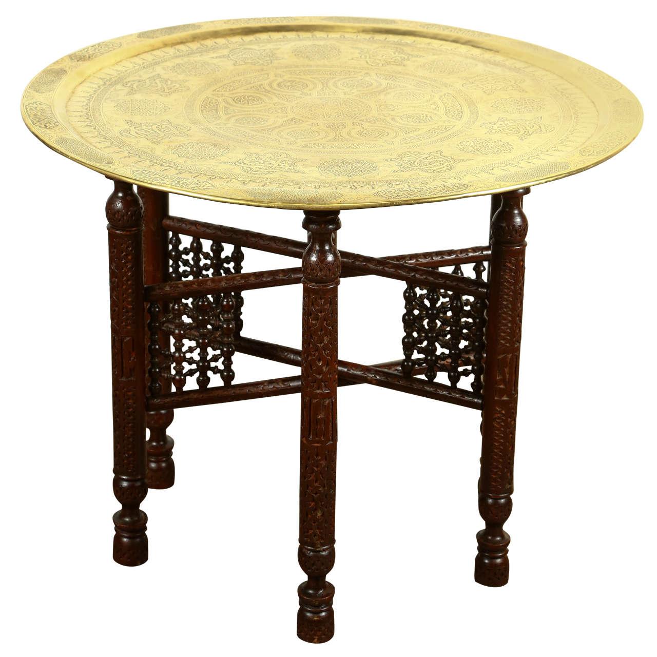 Wonderful Antique Arabic Brass Tray Side Table 1
