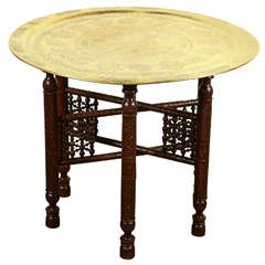 Antique Arabic Brass Tray Side Table