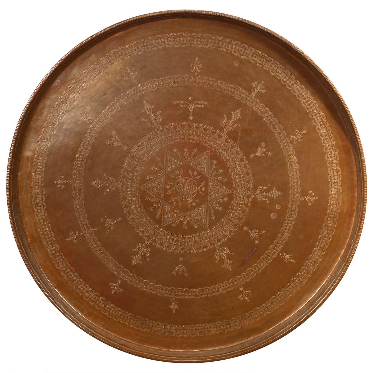Turkish Bronze Round Tray For