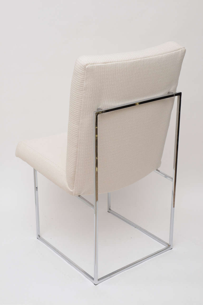 Set of 4 Milo Baughman Chrome Architectural Box Frame Dining Chairs /SALE In Good Condition For Sale In North Miami, FL