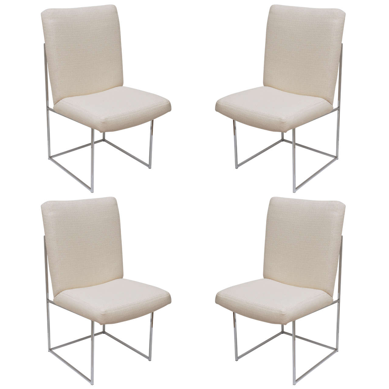 Set Of 4 Milo Baughman Chrome Architectural Box Frame Dining Chairs /SALE