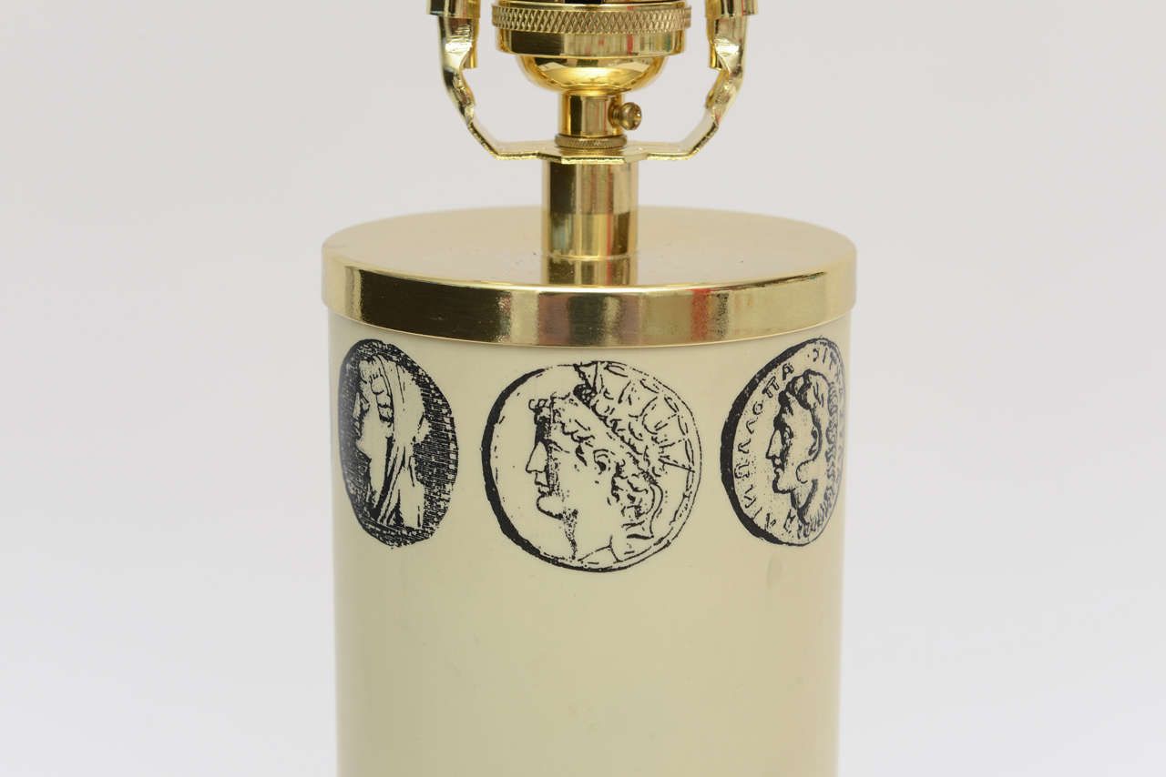 Italian Fornasetti Enameled Metal and Brass Cameo Table or Desk Lamp 3