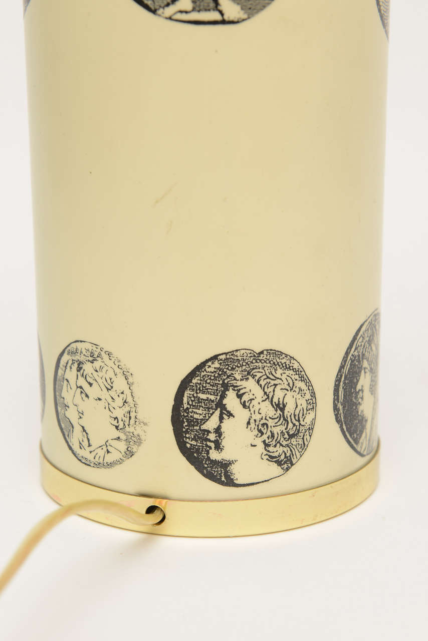 Italian Fornasetti Enameled Metal and Brass Cameo Table or Desk Lamp For Sale 2