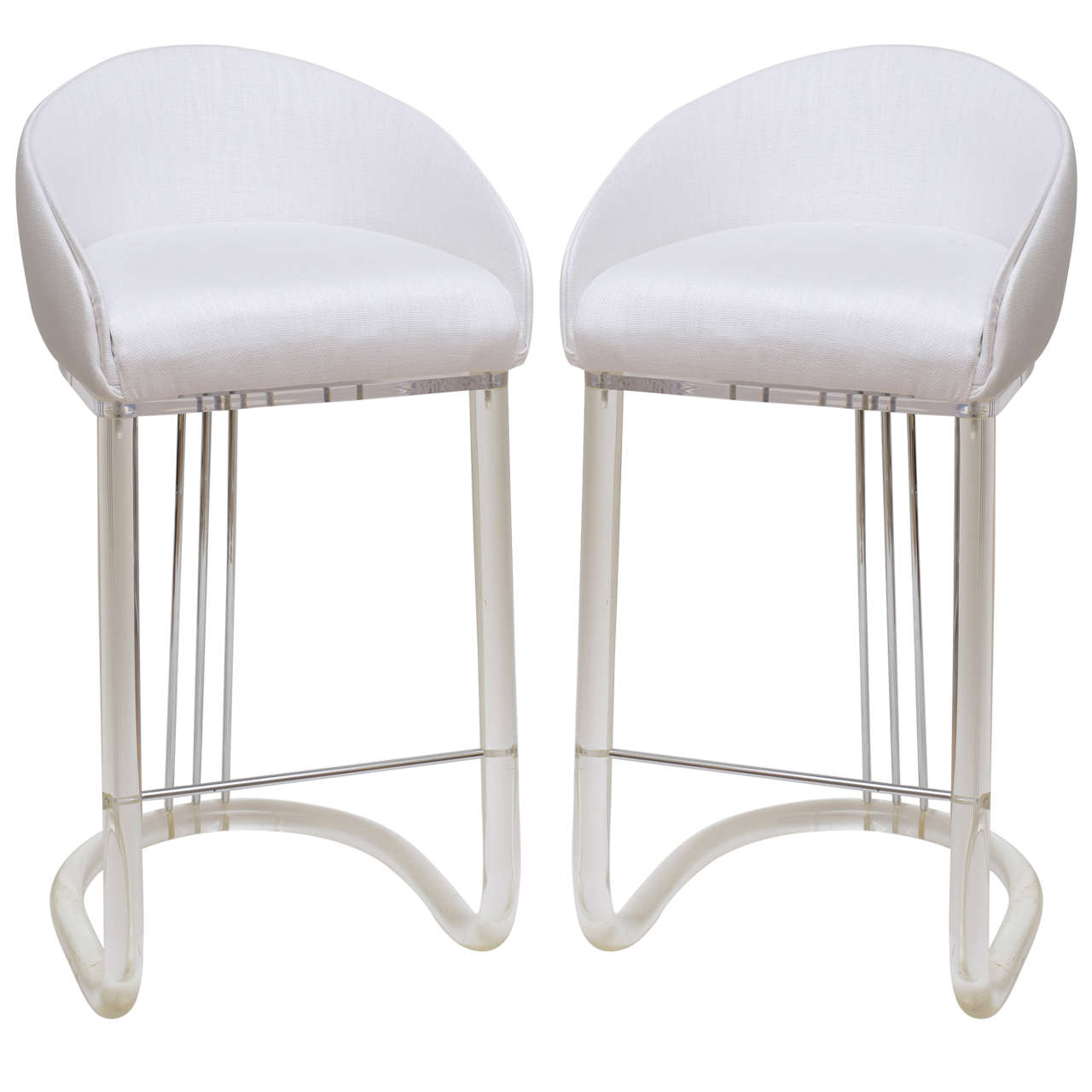 Lion in Frost Pair of Lucite and Upholstered Swivel Bar Stools SATSALE 1