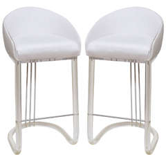 Lion in Frost Pair of Lucite and Upholstered Swivel Bar Stools/ SAT.SALE