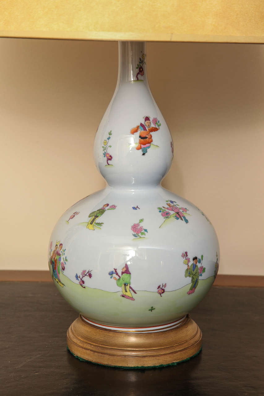 Pair Of Herend Double Gourd Lamps At 1stdibs