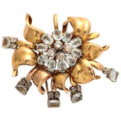Retro Aquamarine and Diamond Gold Floral Pin