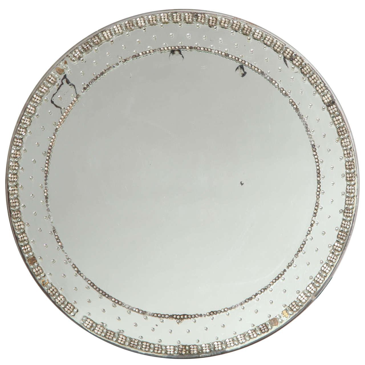 Art deco round glass jeweled standing vanity mirror for for Standing glass mirror