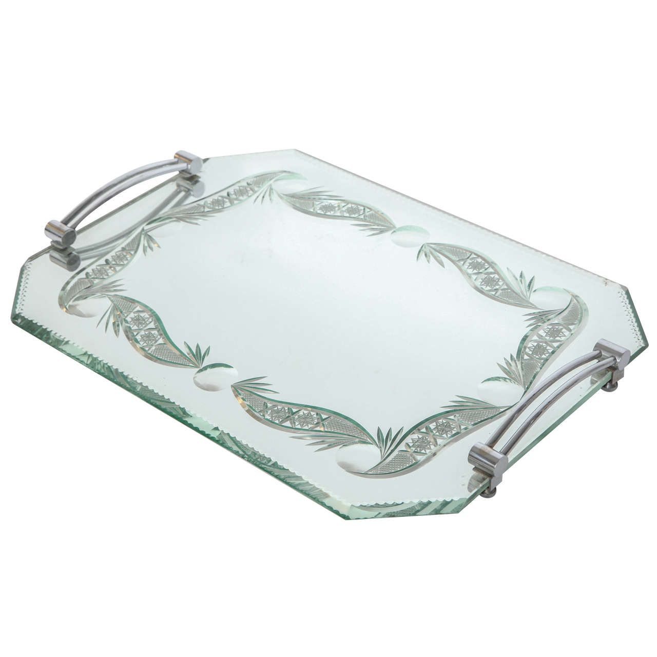 French mirrored vanity tray at 1stdibs for Mirrored bathroom tray