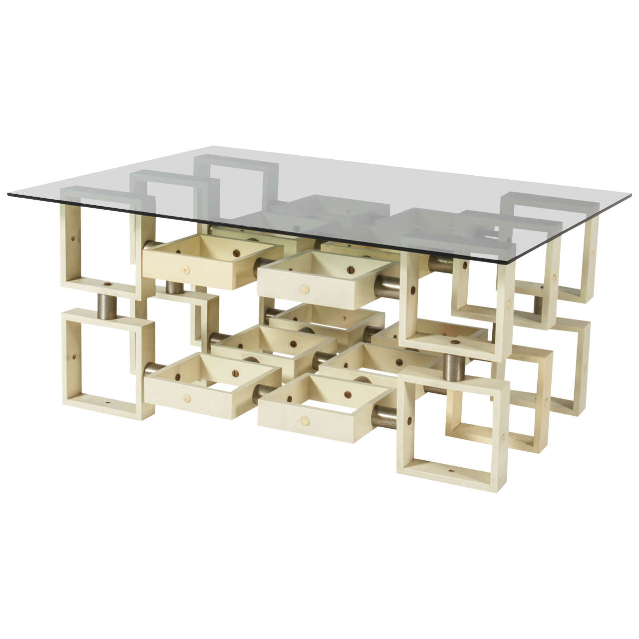 Pair Of Italian Geometric Glass Top End Tables At 1stdibs