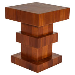 "Unusual Wood Block Side Table, Signed ""TSAO Hong Kong"""