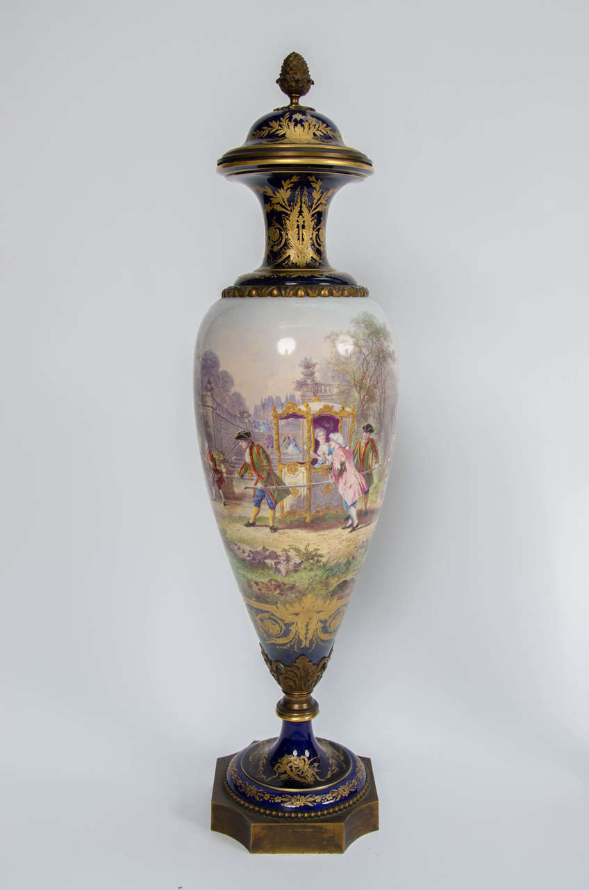 French Pair of Antique Sèvres Vases For Sale